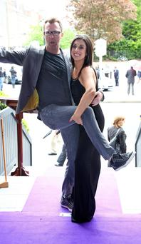 Comedian Jason Byrne and Lucy Kennedy pictured at the Shelbourne Hotel, Dublin this afternoon for the launch of the new TV3 2015 productions