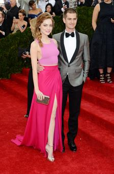 Actors Emma Stone (L) and Andrew Garfield attend the