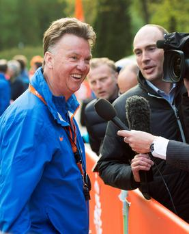 The Netherlands national team coach Louis van Gaal talks with the media today