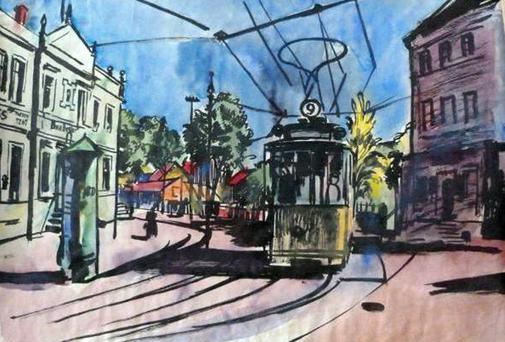 'Street Tram' by Bernhard Kretschmar. The work is among 25 shown on the Lost Art website and among the approximately 1,400 works German authorities confiscated from the Munich residence of Cornelius Gurlitt, son of Hildebrand Gurlitt, an art dealer who worked for the Nazis. (Photo by Lost Art Koordinierungsstelle Magdeburg)