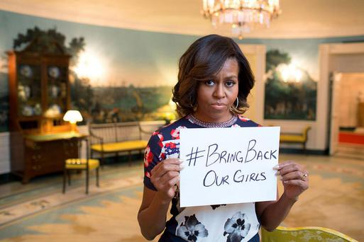 Selfie: Michelle Obama with Bring Back Our Girls hashtag