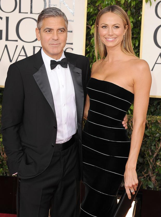 BEVERLY HILLS, CA - JANUARY 13: George Clooney and Stacy Keibler arrives at the 70th Annual Golden Globe Awards at The Beverly Hilton Hotel on January 13, 2013 in Beverly Hills, California. (Photo by Steve Granitz/WireImage)