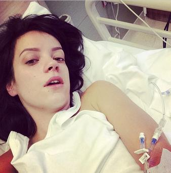Lily Allen posted a photo of herself in hospital on Instagram