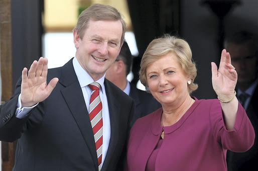 Newly appointed Minister for Justice, Equality and Law Reform, Frances Fitzgerald and Taoiseach Enda Kenny pictured at Aras an Uachtarain. Picture: Colin Keegan, Collins Dublin.