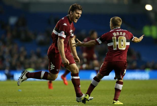 Derby's Chris Martin celebrates scoring his second goal with Jamie Ward during the Sky Bet Championship Play-off, Semi Final match at the AMEX Stadium, Brighton.