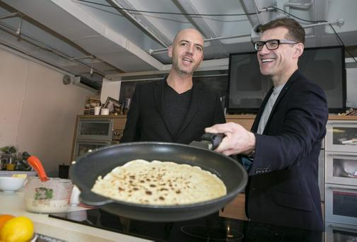 Masterchef Judges Dylan Mc Grath and Nick Munier pictured preparing pancakes at the launch of Masterchef Series Three last year