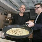Masterchef Judges Dylan Mc Grath and Nick Munier pictured preparing some Pancakes at the announcement of details of Masterchef Series Three which starts on RTE One Tuesday 4th March at 8.30PM