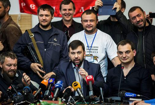 Leaders of the so-called Donetsk People's Republic, at a press conference in Donetsk, Ukraine. Photo: AP Photo/Manu Brabo