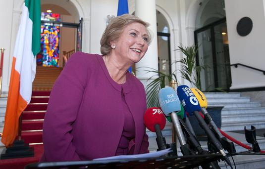 New Justice Minister Frances Fitzgerald speaking to media at Government Buildings, Dublin. Photo: Gareth Chaney Collins