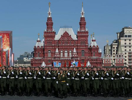 Russian servicemen march during the Victory Day Parade in Moscow's Red Square. Reuters/Sergei Karpukhin
