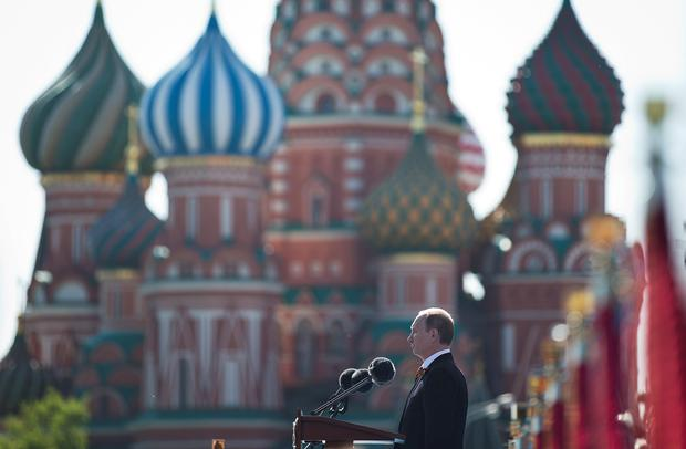 Russian President Vladimir Putin praised the Soviet role in defeating fascism. He said those who defeated fascism must never be betrayed. Putin made no reference to the situation in Ukraine when he opened Friday's parade, focusing on the historic importance of the victory over Nazi Germany. (AP Photo/Pavel Golovkin)