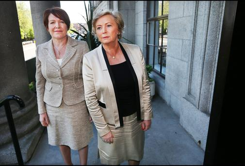Interim Garda Commissioner Nóirín O'Sullivan meets Minister for Justice Frances Fitzgerald on the steps of the Department of Justice yesterday. Picture: Steve Humphreys