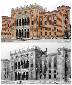 Sarajevo's landmark 19th century city hall-turned-National Library will re-open on May 9, 2014 with its old glory fully restored, after it was reduced to rubble by Serb shelling in the summer of 199