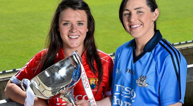 Team captains Doireann O'Sullivan (left) and Lindsey Davey will face off as Cork take on Dublin in today's Tesco HomeGrown Ladies National Football League Division 1 final at Parnell Park