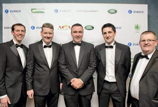 Pictured are (LtoR) Darragh McCoullogh Deputy Editor of the Farming Independent at the Irish Independent, John O'Connor CFO and acting CEO of Zurich, Kevin Nolan, Farmer of the year, Michael Doyle, Zurich and Declan O'Brien Editor at the Farming Independent at the 1st ever Zurich Farmer of The Year Awards at the Ballsbridge Hotel in Dublin. Photo: El Keegan