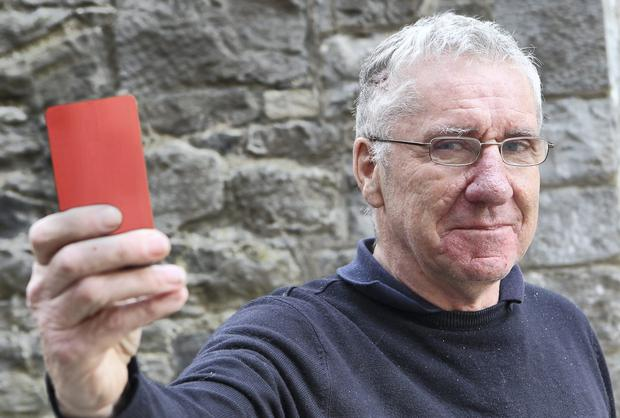 Referee Jim McKenna, who was attacked several years after giving a red card in a football game.