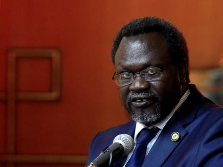 South Sudan's rebel leader Riek Machar speaks after he signed a peace agreement with South's Sudan's President Salva Kiir in Addis Ababa May 9, 2014. REUTERS/Tiksa Negeri