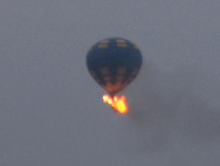 Authorities say this is the hot-air balloon that was believed to have caught fire and crashed in Virginia yesterday. (AP Photo/Nancy Johnson)
