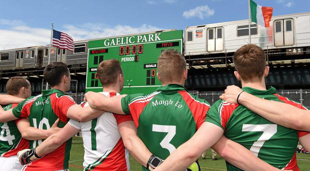 The Mayo players during the playing of the National Anthem before the game against New York