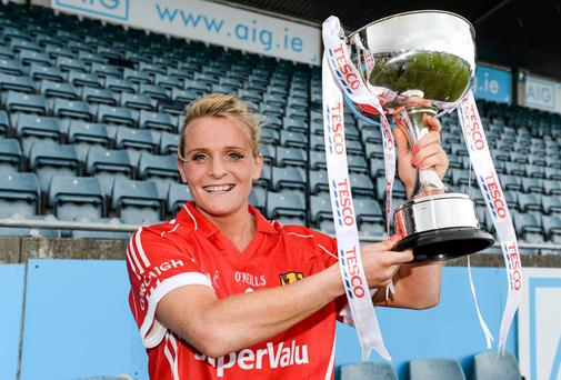 Cork captain Briege Corkery with the cup