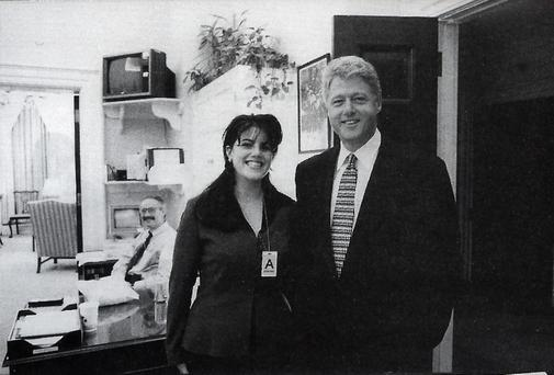 Official White House photo taken Nov. 17, 1995 showing President Clinton and Monica Lewinsky at the White House