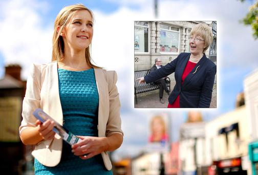 Kate Feeney and (inset) Mary Hanafin on the streets of Blackrock, Co Dublin. Picture: GERRY MOONEY/MARK CONDREN