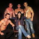 THRILLS: The Men of Desire - strippers Anto, Joe, Wayne and Leo, with Antonia Leslie, at Club52, where the guys perform their act once a month. Photo: Barbara McCarthy