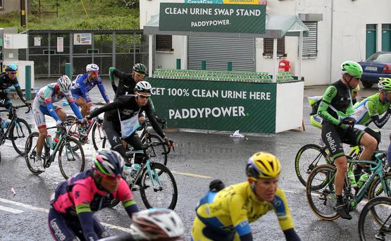 During the Giro d'Italia's final stage in Ireland, Paddy Power offered cyclists the chance to cross the line with confidence thanks to their Clean Urine Swap stand. Located well out of the watchful eye of race officials, cyclists had the chance to whiz by and grab a little helping hand for those tense moments after the finish line.