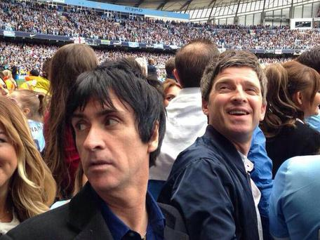 Jonny Marr and Noel Gallagher. Photo: Twitter/@MCFC