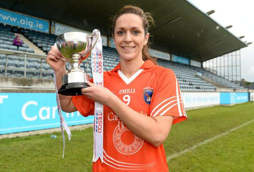 Armagh captain Caroline O'Hanlon with the cup after the game. TESCO Ladies National Football League Division 3 Final, Armagh v Waterford, Parnell Park, Dublin. Picture credit: Barry Cregg / SPORTSFILE