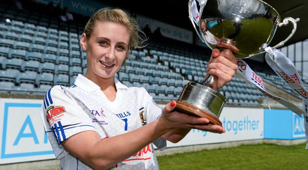 Galway captain Sinéad Burke with the cup after the game. TESCO Ladies National Football League Division 2 Final, Galway v Westmeath, Parnell Park, Dublin. Picture credit: Barry Cregg / SPORTSFILE