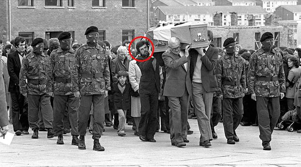 Owen Carron (circled) carries the coffin of hunger striker Bobby Sands at his funeral in 1981. Mr Carron, who was the republican's election agent, fled Northern Ireland after he was charged with possession of an AK47, and later took up post as principal in two separate national schools in Co Leitrim. Picture: PACEMAKER