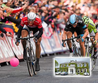 Marcel Kittel of the Giant Shimano team (left) on his way to winning stage 3 of the Giro d'Italia 2014 into Dublin. Inset: Finnstown House where the bomb was discovered