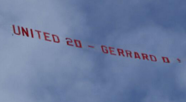 The banner flown over Anfield yesterday