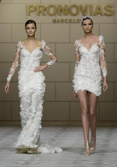 Models walk the runway for the Pronovia's 50th anniversary bridal fashion show during 'Barcelona Bridal Week 2014'