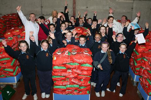 Fourth and fifth class pupils from St Annes Loreto School, Navan pictured on a visit to Meade Potato Company premises in Lobinstown, Co Meath