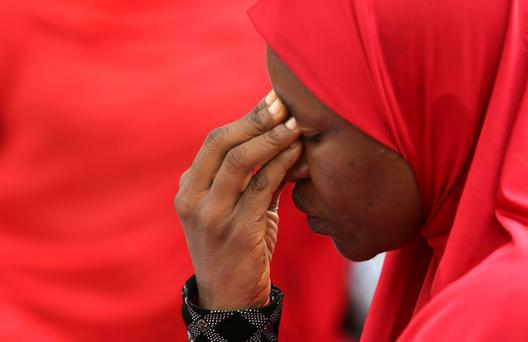 A woman takes part in a protest for the release of the abducted secondary school girls in the remote village of Chibok, during a sit-in protest at the Unity fountain Abuja