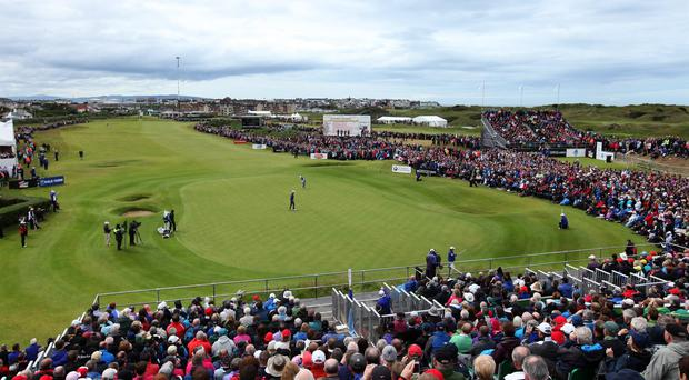 Rory McIlroy of Northern Ireland putting on the 18th green during the final round of the 2012 Irish Open at Royal Portrush Golf Club (Photo by David Cannon/Getty Images)