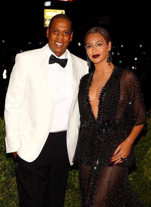 Rapper Jay Z and singer Beyonce Knowles arrive at the Metropolitan Museum of Art Costume Institute Gala