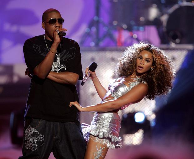 Jay-Z and singer Beyonce Knowles perform onstage at the 2006 BET Awards