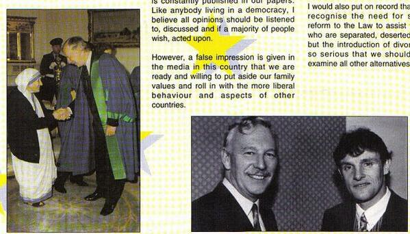 Former Fianna Fail politician John Stafford alongside Mother Theresa in campaign material from 1994. Photo: Irish Election Literature/Alan Kinsella