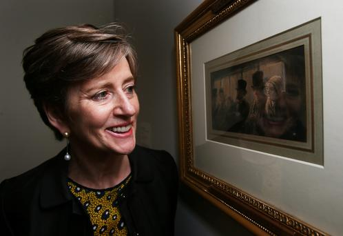 Gallery director Barbara Dawson with view 'In the Omnibus' by the French artist Honore Daumier (1808 - 1879) at Dublin City Gallery The Hugh Lane as the gallery together with Criminal Assets Bureau announce its return following its theft from the gallery