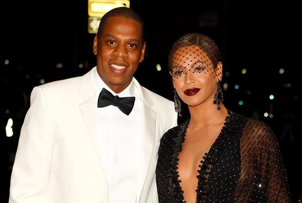 Jay-Z and Beyonce at the Met Gala, before the incident took place