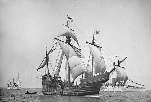 A replica of Christopher Columbus' caravel Santa Maria is shown in this circa 1892 handout photo provided by the United States Library