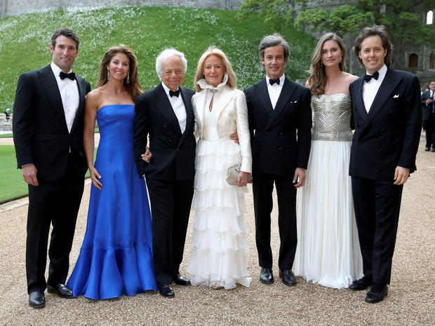 (Left to right) Paul Arrouet, Dylan Lauren, Ralph Lauren, Ricky Anne Loew-Beer, Andrew Lauren, Lauren Bush and David Lauren arrive for a dinner to celebrate the work of The Royal Marsden hosted by the Duke of Cambridge at Windsor Castle. PRESS ASSOCIATION Photo. Chris Jackson/PA Wire