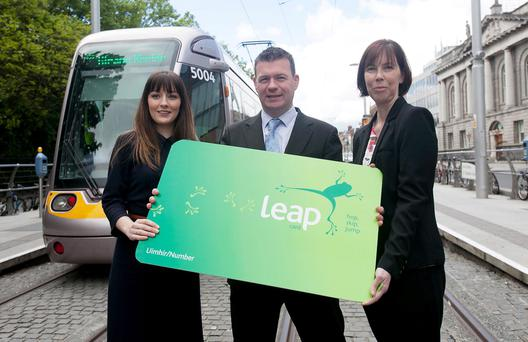 Transport Minister Alan Kelly TD with NTA competition winners Ciara Harte, from Rush - who received the 500,000th Leap card plus a voucher for €500 - and Wendy Twomey - who won a €500 one voucher