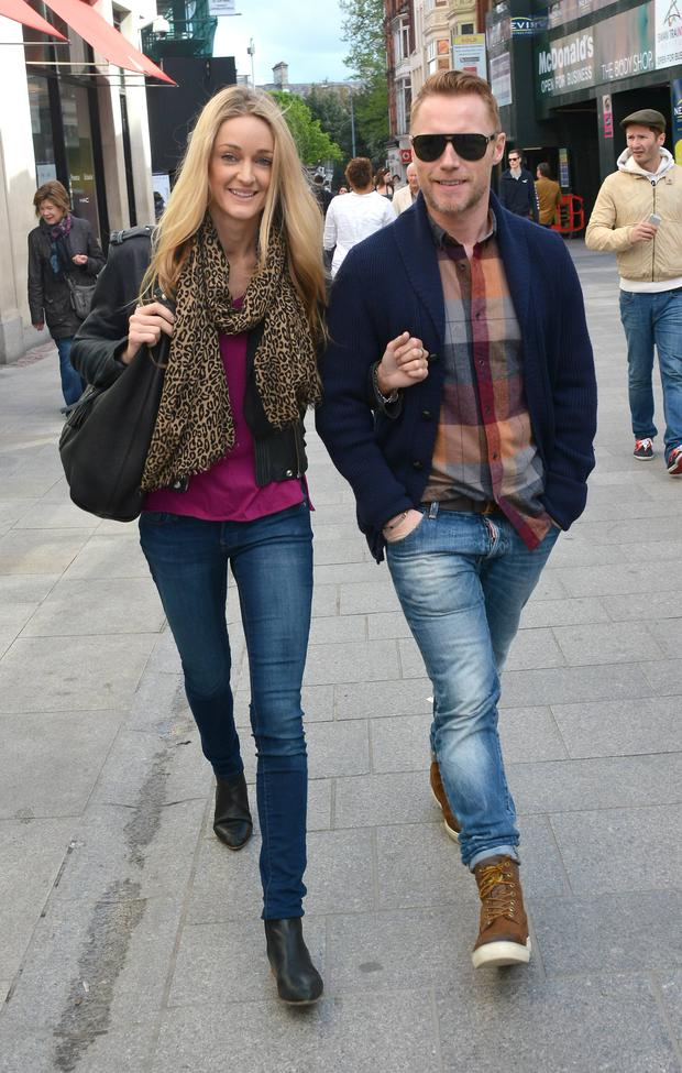 Ronan Keating & girlfriend Storm Uechtritz seen taking a morning stroll on Grafton Street
