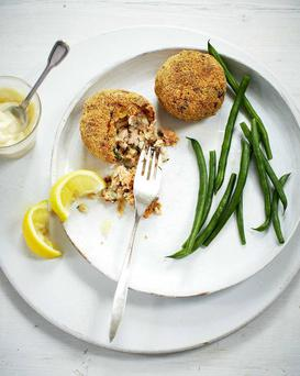Herby Salmon Fishcakes with Polenta