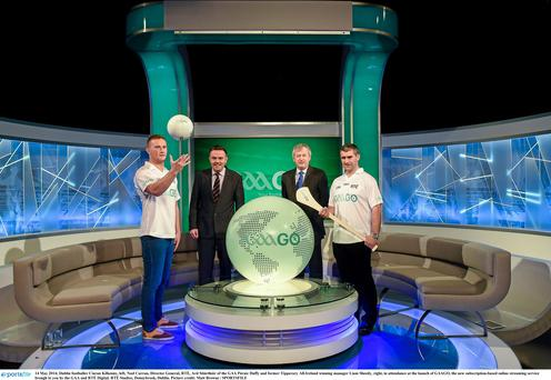 Dublin footballer Ciaran Kilkenny, left, Noel Curran, Director General, RTÉ, Ard Stiúrthóir of the GAA Páraic Duffy and former Tipperary All-Ireland winning manager Liam Sheedy, right, in attendance at the launch of GAAGO, the new subscription-based online streaming service brough to you by the GAA and RTÉ Digital.