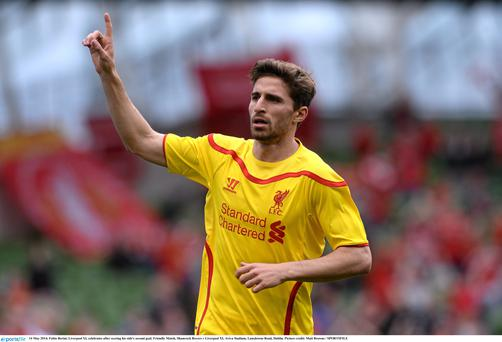 Fabio Borini, Liverpool XI, celebrates after scoring his side's second goal against Shamrock Rovers
